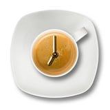Weiße Schalen-Espresso-Kaffee-Uhr sieben Stockbild