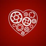 Weiße Schattenbild Valentinsgruß-Herzpostkarte Stockbilder