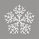 Weiße Schneeflocke auf einem grauen Hintergrund Stockfoto