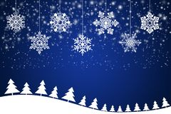 Weiße Schneeflocken auf einem abstrakten blauen Hintergrund Lizenzfreie Stockbilder