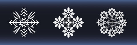 Weiße Schneeflocken auf einem blauen Hintergrund vektor abbildung