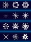 Weiße Schneeflocken auf einem blauen Hintergrund lizenzfreie abbildung