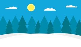 Weiße Schneeflocken auf einem blauen Hintergrund Blaue Himmel, Les und Antriebe Klares Frostwetter Modernes flaches Design Auch i Stockfotos