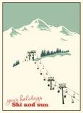 Weiße Schneeflocken auf einem blauen Hintergrund Gebirgslandschaft mit Skiaufzug Stockbilder
