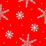 Weiße Schneeflocken auf einem roten Hintergrund Vektornahtloser Weihnachtshintergrund Stockfoto