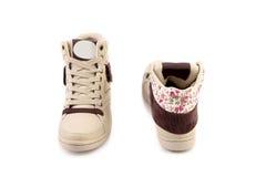 Weiße Schuhe für Mädchen. Stockfotos