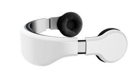 Weiße Schutzbrillen der virtuellen Realität mit Kopfhörern, minimalistic modernes Design auf weißem Hintergrund stockbilder