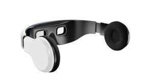 Weiße Schutzbrillen der virtuellen Realität mit Kopfhörern, minimalistic modernes Design auf weißem Hintergrund lizenzfreies stockbild