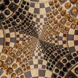 Weiße schwarze Zahlen des abstrakten hölzernen Schachbrett-Schreibtisches im surrealen Effekt der Eckenquadrat-Spirale Surreales  stock abbildung