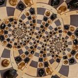 Weiße schwarze Zahlen des abstrakten hölzernen Schachschreibtisches mischen gewundenen Effekt Zusammenfassungsspirale Fractal des vektor abbildung