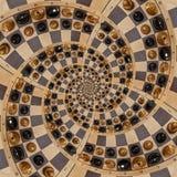 Weiße schwarze Zahlen des abstrakten hölzernen Schachschreibtisches mischen gewundenen Effekt Zusammenfassungsspirale Fractal des stock abbildung
