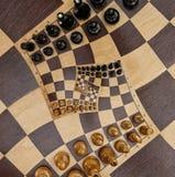 Weiße schwarze Zahlen Polygonmustereffektes der Quadratspirale Schachbrett-Schreibtisch Fractal des abstrakten hölzernen Schachbr lizenzfreie abbildung