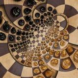 Weiße schwarze Zahlen Schachbrett-Schreibtisch Fractal b des abstrakten hölzernen Schachschreibtisches des runden gewundenen Quad vektor abbildung