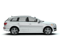 Weiße Seitenansicht des Luxus SUV Stockbild