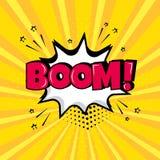 Weiße Spracheblase mit BOOM-Wort auf gelbem Hintergrund r Auch im corel abgehobenen Betrag lizenzfreie abbildung