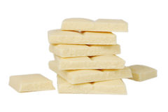 Weiße Stabschokolade getrennt auf Weiß Stockbilder