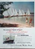 Weiße Stern-Anzeige Weinlese Cunard lizenzfreies stockbild