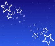 Weiße Sterne auf blauem Hintergrund Stockbilder