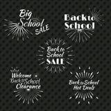 Weiße Sun-Explosion und Retro- Logo Zurück zu der Schule typografisch Lizenzfreie Stockfotos