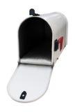 Weiße Tür der Mailbox w/open Stockfotografie
