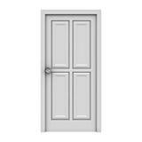 Weiße Tür getrennt auf weißem Hintergrund Stockbild