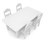 Weiße Tabelle und Stühle Stockbild