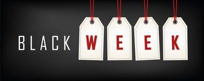 Weiße Tags des schwarzen Wochenverkaufs, die auf schwarzem Hintergrund annoncieren vektor abbildung