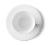 Weiße Tasse und Untertasse lizenzfreies stockbild