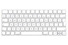 Weiße Tastatur lokalisiert auf weißen Hintergründen, drahtlose Tastatur, Tastatur stockfoto