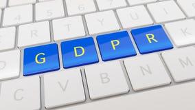Weiße Tastatur mit blauen und gelben GDPR-Schlüsseln Stockfotos