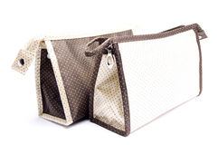 Weiße Textilkosmetiktasche lokalisiert auf Weiß stockfotos