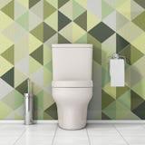 Weiße Toiletten-Schüssel mit Toilettenpapier und metallischer Toiletten-Bürste herein Lizenzfreies Stockfoto