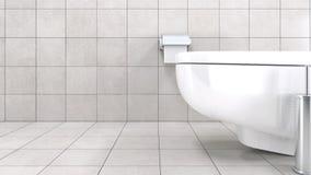 Weiße Toilettenschüssel in einem modernen Badezimmer vektor abbildung