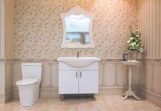 Weiße Toilettenschüssel im Badezimmer mit Duschfliesen und bequem lizenzfreie stockbilder