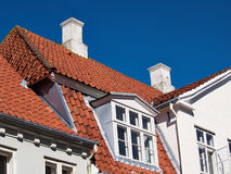 Weiße traditionelle dänische Häuser Lizenzfreies Stockbild