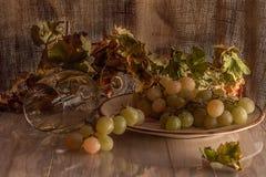 Weiße Trauben auf einem keramischen Teller lizenzfreie stockfotografie