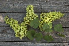 Weiße Trauben, Flaschen Wein und ein Glas Wein Stockfotos