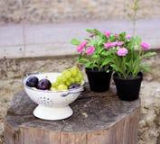 Weiße Trauben und Pflaumen, Grünpflanze, rosa Blumen - Hinterhof-Dekoration Stockfoto