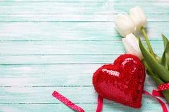 Weiße Tulpenblumen und dekoratives rotes Herz auf Türkis woode Stockfoto