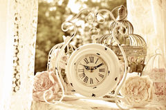 Weiße Uhr und Vogelkäfige der Weinleseart mit Blumen im Sepia Lizenzfreie Stockfotografie