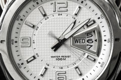 Weiße Uhrskala Stockfotos