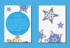 Weiße und blaue Broschüre lizenzfreie abbildung