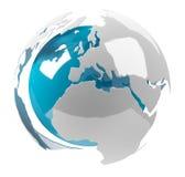 Weiße und blaue Erde der Wiedergabe 3D Stockfotografie