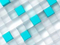 Weiße und blaue Plastikwürfel Stockbilder