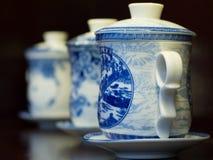 Weiße und blaue Porzellanteekannen Stockbilder