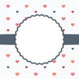 Weiße und blaue Schablonenkarte mit Herzen Stockbild