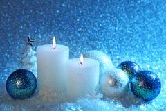 Weiße und blaue Weihnachtsdekoration Lizenzfreies Stockbild