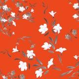 Weiße und graue Blumen des nahtlosen Musters auf einem roten Hintergrund Stockbilder