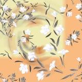 Weiße und graue Blumen des nahtlosen Musters des Aquarells auf einem gelben Hintergrund Stockfotos
