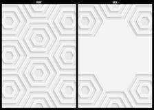 Weiße und graue geometrische Musterzusammenfassungs-Hintergrundschablone Stockfotografie